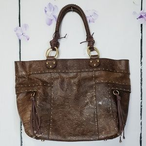 BCBGirls Chocolate Brown Faux Leather Large Tote